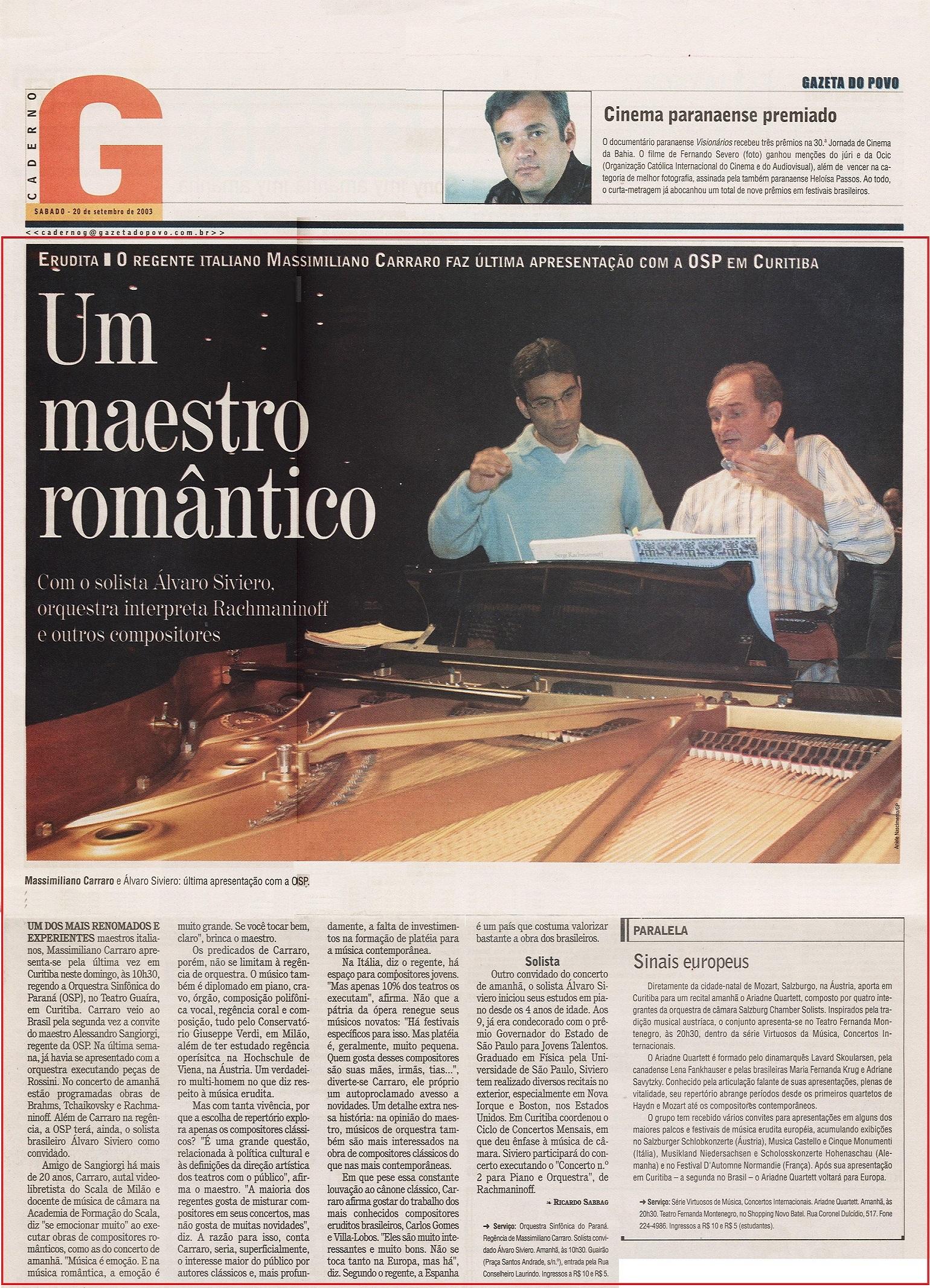 OK - Guaira - Um maestro romântico - rach 2 - gazeta do povo